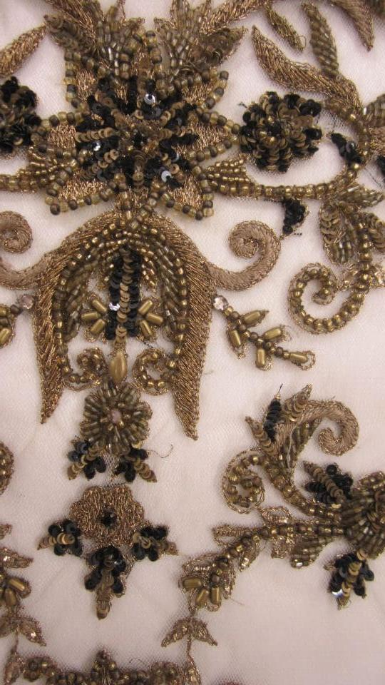 Bullion threadwork with metal beads and sequins on silk georgette