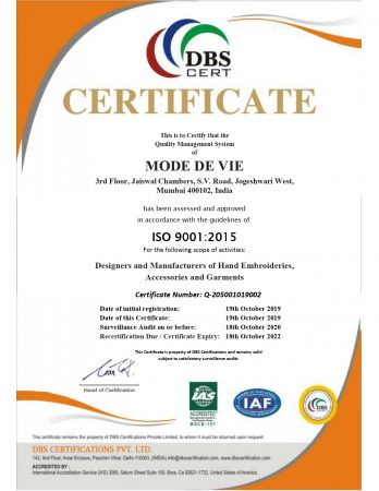 Mode de viE® - ISO 9001:2015 certified designers and manufacturers of hand embroideries, accessories and garments